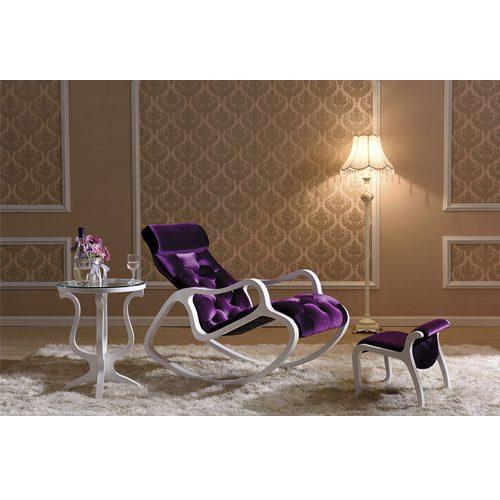 Кресло-качалка бело-фиолетовая купить в мебельном центре Уют, Калининград