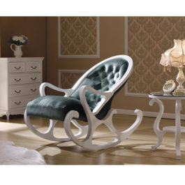 Кресло-качалка бело-зеленое в мебельном центре Уют, Калининград