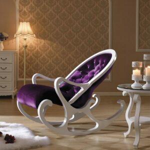 Кресло-качалка белый с фиолетовым в мебельном центре Уют, Калининград